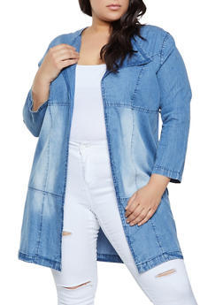 Plus Size Collared Chambray Duster - 1802076020043