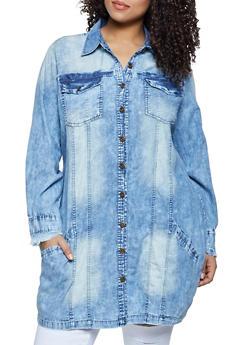 Plus Size Frayed Denim Button Front Tunic Shirt - 1802076020048