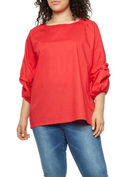 Plus Size Ruched Bubble Sleeve Top - 1803030844030