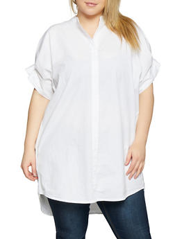 Plus Size Pleated Sleeve Tunic Top - 1803030844391