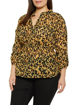 Plus Size Leopard Print Tabbed Sleeve Blouse - 1803030844610