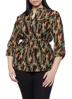 Plus Size Camo Elastic Waist Top - 1803030844611