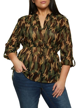 Plus Size Camo Drawstring High Low Top - 1803030849461