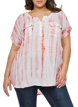 Plus Size Two Pocket Tie Dye Top - 1803038340603