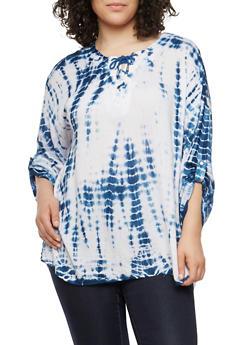 Plus Size Tie Dye Lace Up Top - 1803038340605