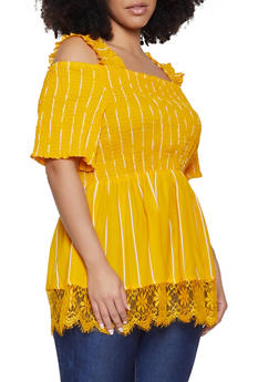 Plus Size Striped Smocked Off the Shoulder Top - 1803038340613