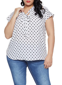 Plus Size Lace Yoke Polka Dot Top - White - Size 2X - 1803038340614