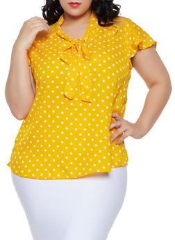Plus Size Lace Yoke Polka Dot Top - 1803038340614