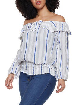 Plus Size Striped Off the Shoulder Ruffle Top - 1803038340615