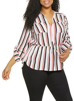 Plus Size Striped Zip Neck Top - 1803038340617