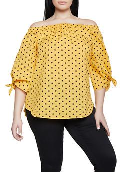 Plus Size Polka Dot Off the Shoulder Top - 1803038340630