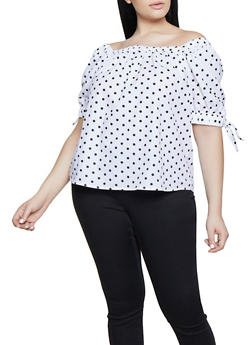Plus Size Polka Dot Tie Sleeve Top - White - Size 1X - 1803038340631
