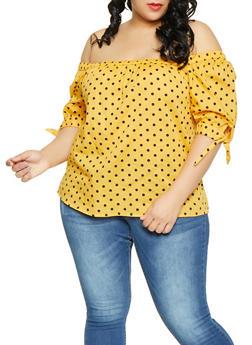 Plus Size Polka Dot Tie Sleeve Top - 1803038340631