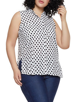 Plus Size Sleeveless Polka Dot Shirt - 1803038340646