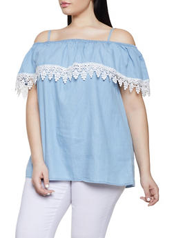 Plus Size Chambray Off the Shoulder Top - 1803038340652