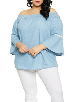 Plus Size Chambray Off the Shoulder Top - 1803038340653
