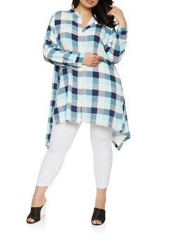 Plus Size Button Front Plaid Tunic Top - 1803038340682
