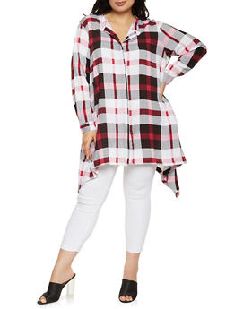 Plus Size Button Front Plaid Tunic Top - 1803038340682