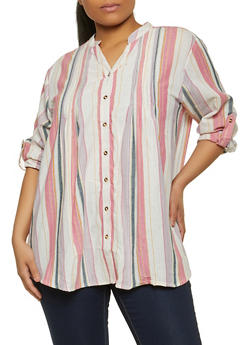 Plus Size Striped Pintuck Button Front Shirt - 1803038341650