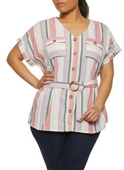 Plus Size Button Front Striped Shirt - 1803038341651