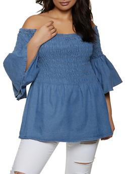 Plus Size Off the Shoulder Smocked Denim Top - 1803038342065