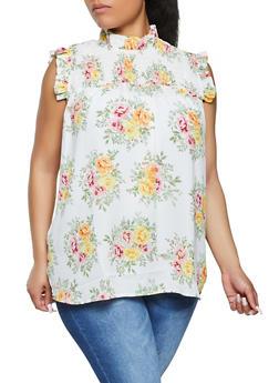Plus Size Floral Smocked Yoke Blouse - 1803038342161