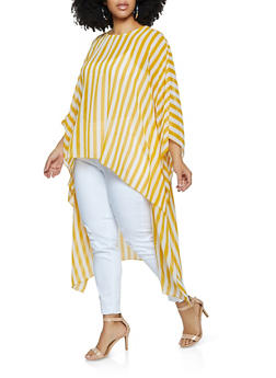 Plus Size Vertical Striped High Low Top - 1803038342163