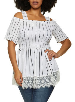 Plus Size Lace Trim Striped Top - 1803038342164