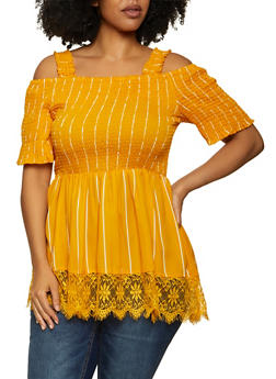 Plus Size Lace Trim Striped Top - 1803038342164