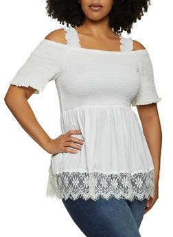 Plus Size Lace Trim Cold Shoulder Top - 1803038342165