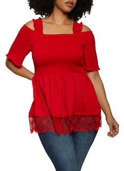 Plus Size Lace Trim Cold Shoulder Top - 1803038342165