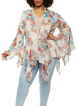 Plus Size Floral Sharkbite Hem Kimono - 1803038349324