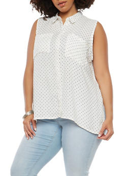 Plus Size High Low Polka Dot Top - 1803038349606