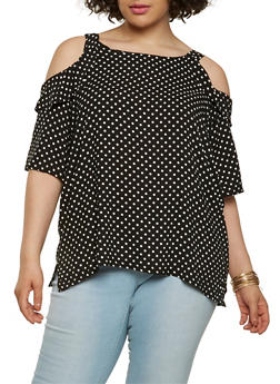 Plus Size Polka Dot Cold Shoulder Top - 1803038349607