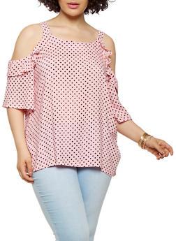 Plus Size Polka Dot Cold Shoulder Top - 1803038349607