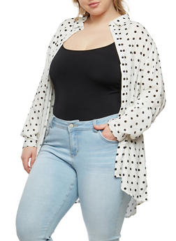 Plus Size Polka Dot Button Front Shirt - WHITE - 1803038349608