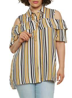 Plus Size Striped Cold Shoulder Shirt - 1803038349609