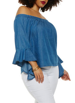 Plus Size Chambray Off the Shoulder Top - 1803038349616