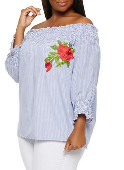 Plus Size Striped Off the Shoulder Top - 1803038349623