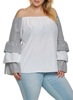 Plus Size Off the Shoulder Striped Sleeve Top - 1803038349625