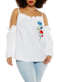 Plus Size Embroidered Cold Shoulder Top - 1803038349627