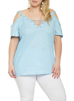 Plus Size Lace Up Cold Shoulder Top - 1803038349628