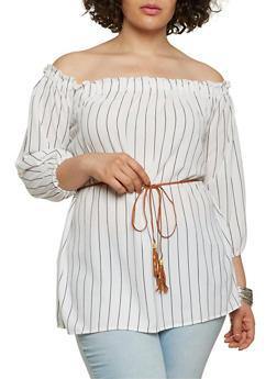 Plus Size Striped Off the Shoulder Tunic Top - 1803038349632