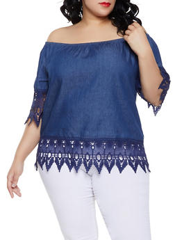 Plus Size Crochet Trim Off the Shoulder Chambray Top - 1803038349635