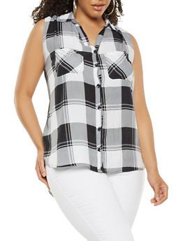 Plus Size Plaid Button Front Shirt - BLACK/WHITE - 1803038349680