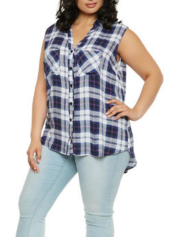 Plus Size Plaid Button Front Shirt - 1803038349680