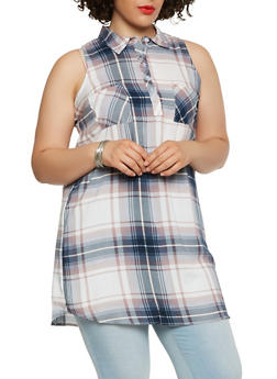 Plus Size Plaid Tunic Top - 1803038349681