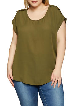 Plus Size Solid Blouse - 1803051060013