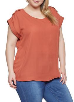 Plus Size Solid Blouse - 1803051060013