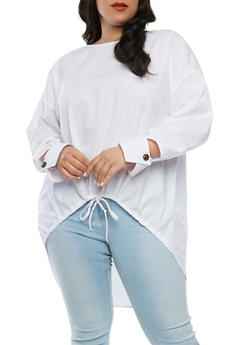 Plus Size Solid Poplin High Low Tunic Top - 1803051060063